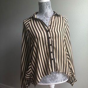 Black and Tan Stripped Top with Batwing Sleeves
